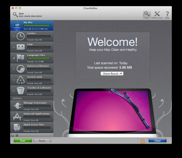 1. CleanMyMac main window - Welcome screen