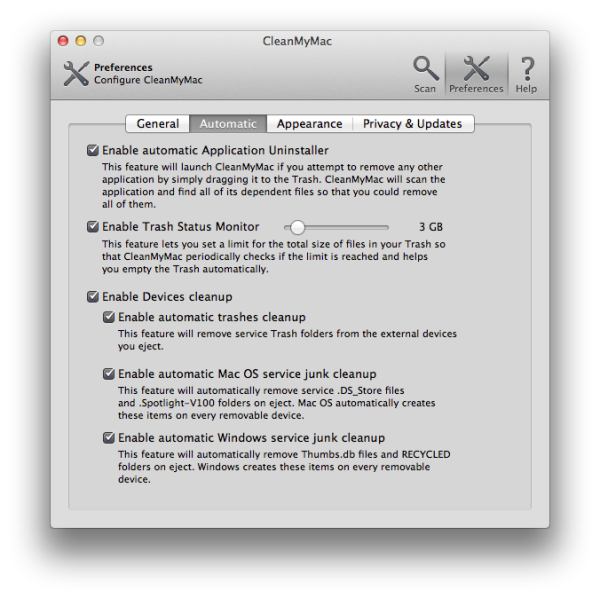 7. Preferences - Automatic tab
