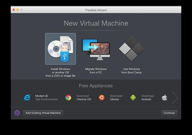 New VM Wizard in Parallels Desktop 11