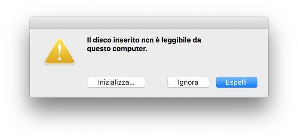 Utility Disco High Sierra non riconosce dischi non inizializzati nerdvana