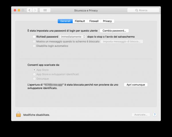 Aprire app di terze parti macOS High Sierra Apri comunque nerdvana