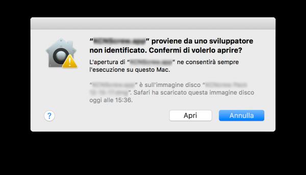 Aprire app di terze parti macOS High Sierra Conferma nerdvana