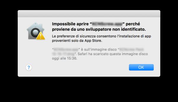 Aprire app di terze parti macOS High Sierra Messaggio App Store nerdvana