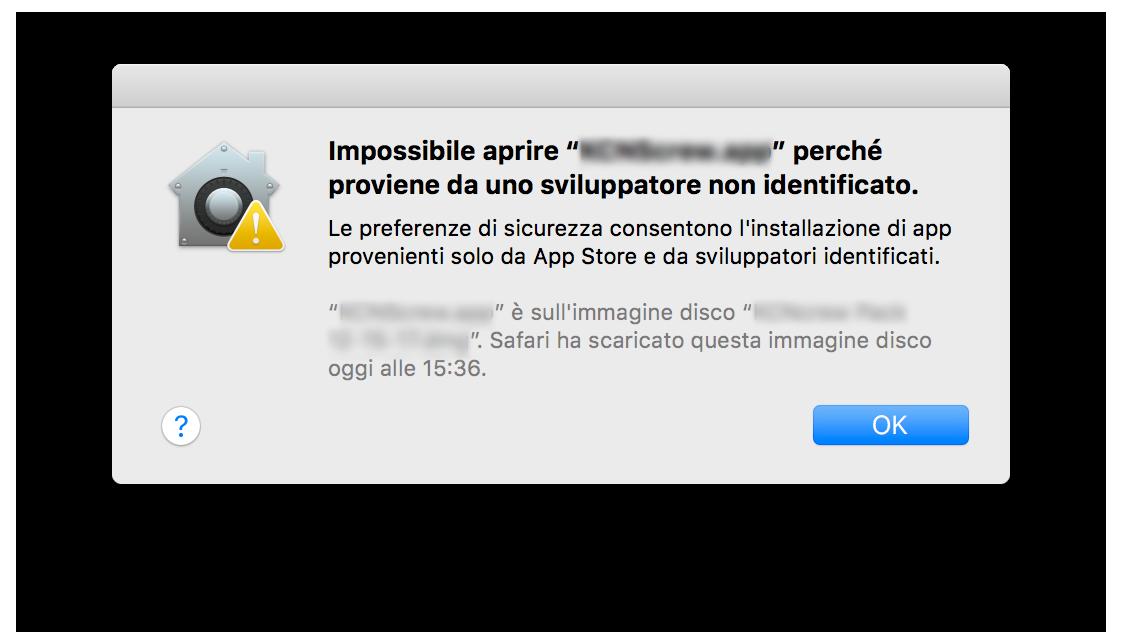 da sviluppatore non identificato mac
