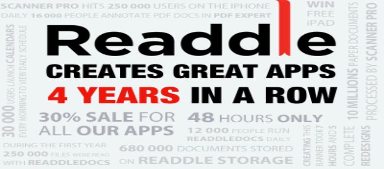 Per festeggiare i 4 anni di attività Readdle sconta le sue app del 30% e regala 4 iPad